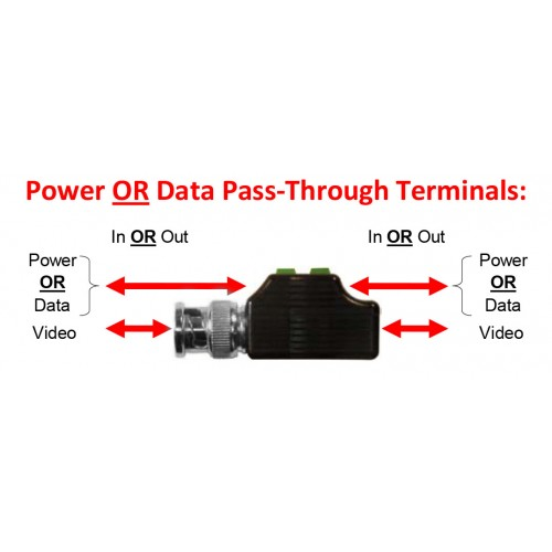 4-in-1 HD Video Balun with P-Through on