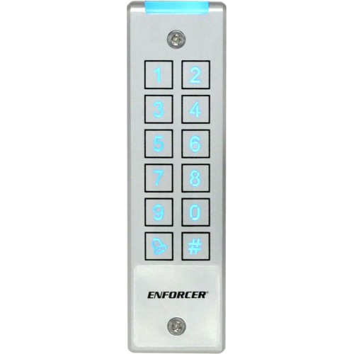 SECO-LARM SK-2323-SPQ Mullion-Style Weatherproof Digital Access Keypad; 12~24 VAC//VDC operation; 1,010 Users Output #1: 1,000 users//Output #2:/10 users ; 2 Form C relays each rated/1 Amp @ 30VDC; Each relay has programmable output time from 1~9